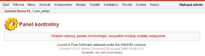 Wyłączone moduły administratora