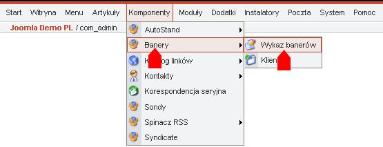 Wybór menedżera banerów w menu administracyjnym