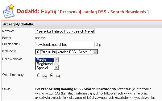 Edycja właściwości bota Szukaj w Spinaczu RSS