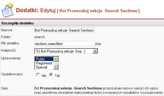 Edycja właściwości bota Szukaj w Sekcjach