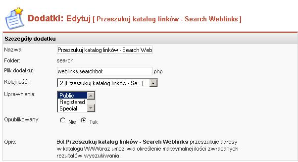 Edycja właściwości dodatku Szukaj w Katalogu WWW