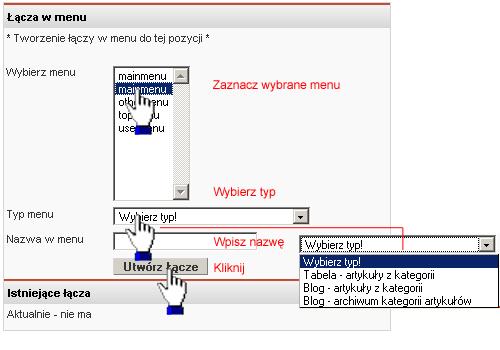 Tworzenie łącza w menu