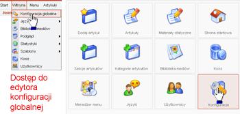 Dostęp do edytora konfiguracji globalnej