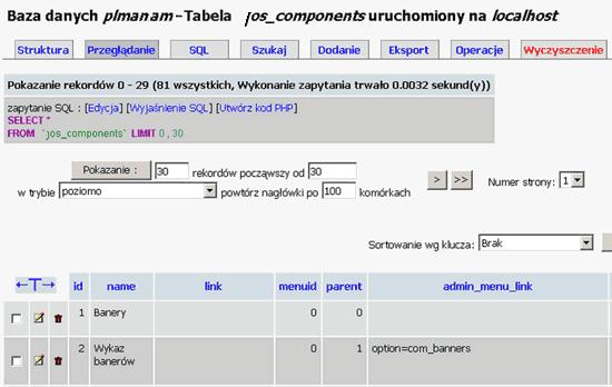 Wybór tabeli bazy danych