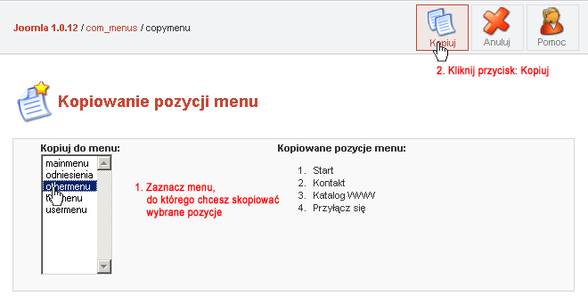 Kopiowanie pozycji menu