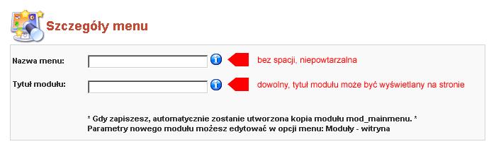 Edytor menu - tworzenie nowego menu