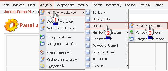 Wybieranie pozycji menu