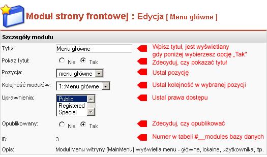 Edycja właściwości modułu