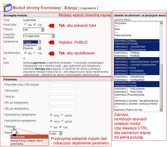 Edycja właściwości modułu Logowanie