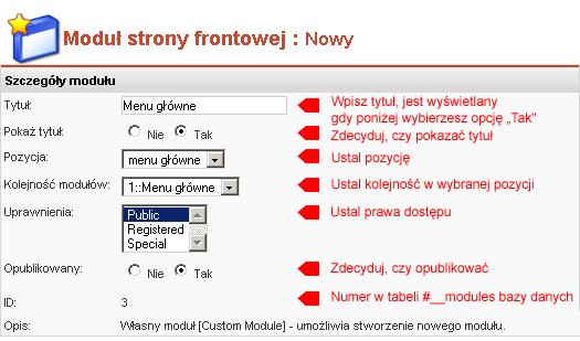 Nowy moduł: Szczegóły