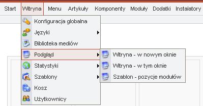 Opcja Podgląd w menu administratora