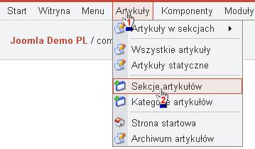 Wybór menu Sekcje