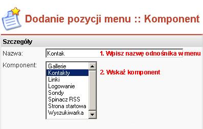 Określanie szczegółów pozycji menu