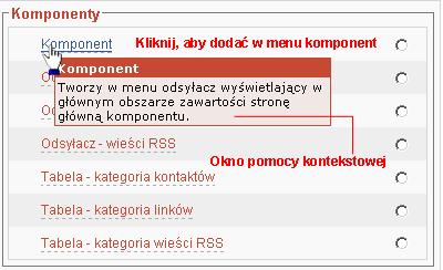 Tworzenie nowej pozycji w menu  - wybór typu pozycji