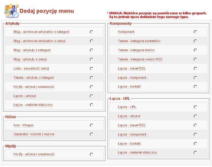 Menedżer pozycji menu - typy pozycji