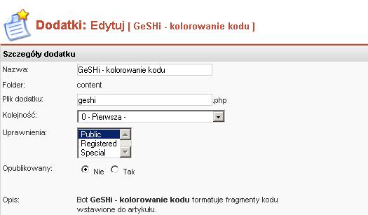 Edycja właściwości bota GeSHi