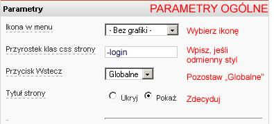 Parametry ogólne
