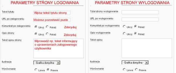 Parametry strony logowania i wylogowania