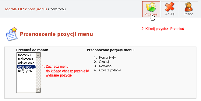 Przenoszenie pozycji menu