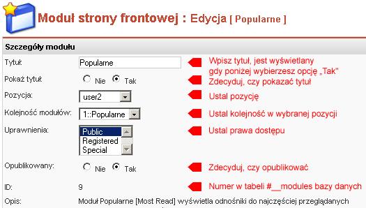 Edycja właściwości modułu Popularne