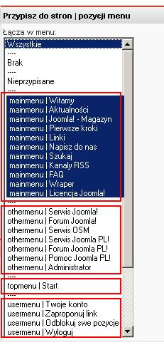 Przypisywanie modułu do pozycji menu  i stron