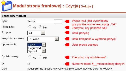 Edycja właściwości modułu Sekcje