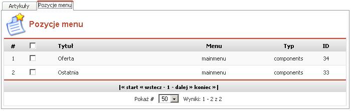 Menedżer śmietnika: Karta Pozycje menu